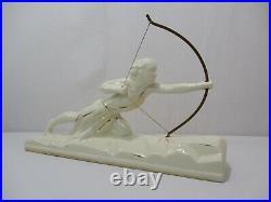 Ancienne Statue Diane Chasseresse Faience Ceramique Art Deco