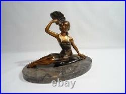 Ancienne Statue Femme A L' Eventail Signee Balleste Regule Et Marbre Art Deco