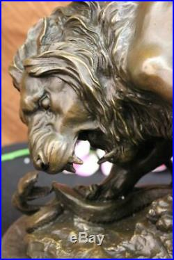 Antoine Bronze Lion Serpent Sculpture le Serpent Important Art Statue