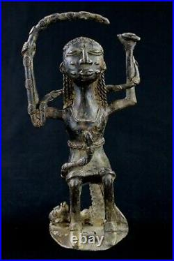 Art Africain African Statue de Mami Wata Sirène en Bronze Baoulé 19,5 Cms ++