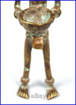 Art Africain Ancien Bronze Senoufo Dramatique Porteuse de Coupe 19 Cms ++