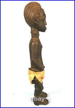 Art Africain Ancien Fétiche Baoulé Epoux Mystique Visage Scarifié 40 Cms