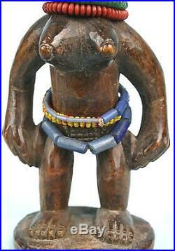 Art Africain Ancien Ibeji Yorouba Coiffe Remarquable de Finesse 27,2 Cms