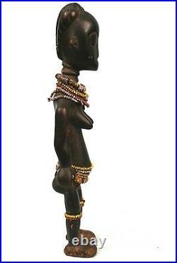 Art Africain Ancienne Statue de Fécondité Fanti du Ghana Ornée de Perles +++++