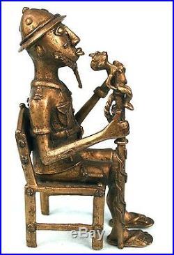 Art Africain Colon Baoulé Cire Perdue Très Haut Niveau de Détails 17 Cms