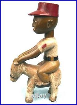 Art Africain Ethnique Tribal Superbe Statue Cavalier en Bois Baoulé 42 Cms