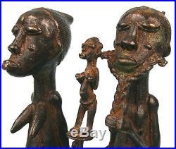 Art Africain Ethnographique Couple en Bronze Baoulé 18 Cms Nice Items ++++