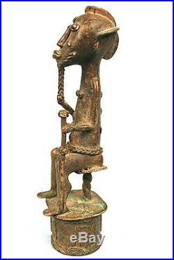 Art Africain Figurine de Dignitaire Baoulé en Bronze Détails Extra 19 Cms
