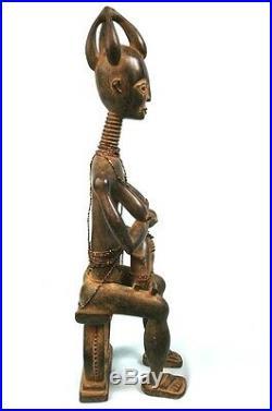 Art Africain Grande & Délicate Statue de Maternité Ashanti Ghana 59,5 Cms