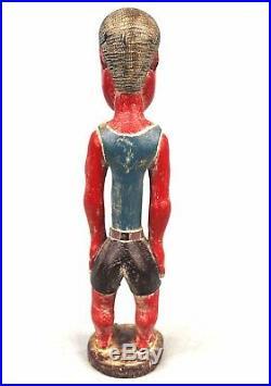 Art Africain Statue Bois Colon Baoulé Baule Calvitie Chauve Bald Kahl 27 Cms