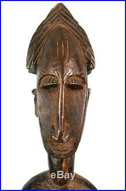 Art Africain Superbe Statue Féminine Bamana Assise Mali Classe 57 Cms