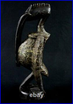 Art Africain Tribal Calao Oiseau Senoufo Bois & Plaques Métalliques 34 Cms