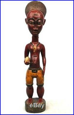 Art Africain Tribal Colon Baoulé Sculpture en Bois Éblouissante 42 Cms ++