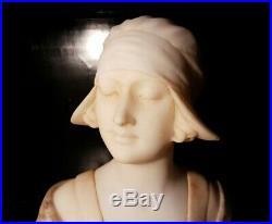 Art Nouveau Buste Par ANTON NELSON 1880 1910 Femme Sculpture en Marbre Statue