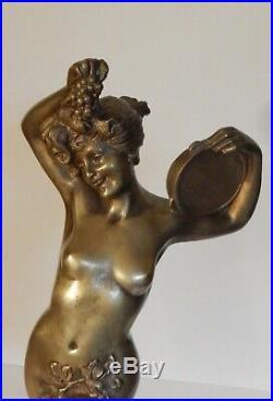 Art Nouveau Danseuse Bacchanale Vendanges Grande Statuette Bronze 1905