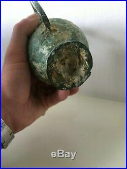 Art Romain ou grecque Rare Vase avec hanse cheval en Bronze, Archéologie +++