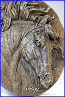 Art animalier- Très belle tête de cheval, bronze signée Nick