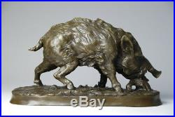 Art animalier, sanglier signé P. J. MENE- bronze de grande taille, envoi gratuit