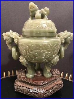 Art d'Asie Brûle parfum tripode en jade, CHINE fin XIXème siècle, Hauteur 17cm