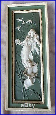 Art nouveau femmes plaques haut relief tableaux biscuit de porcelaine fin XIX