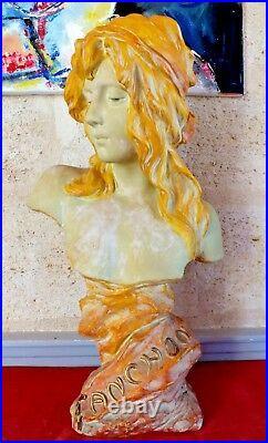 Art nouveau sculpture terre cuite Fanchon