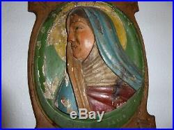 Art religieux sculpture bas relief bois polychrome MADONE de profil