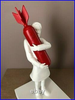 BANKSY Bomb Hugger Red & White Bomb Girl Statue Street Art Sculpture