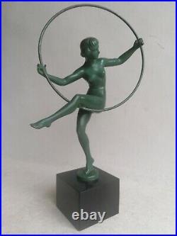 BRIAND Danseuse cerceau art deco Max Le Verrier Bouraine 1920 STATUE SCULPTURE