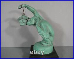Boubou Singe A La Lanterne Sculpture Mascotte Art Déco Régule Max Le Verrier