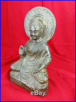 Bouddha en pierre traces de dorure ancien H37cm Asie sculpture statue art