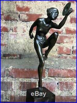 Bronze Art Déco La danseuse aux cymbales signé Lucien ALLIOT sur socle marbre