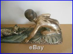 Bronze Charles Raphael Peyre enfant jouant chat children playing cat art deco