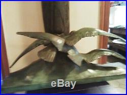 Bronze GH Laurent vers 1930 représentant deux mouettes en plein vol art deco