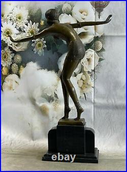 Bronze Sculpture, Main Fabriqué Statue Signée Art Déco Chiparus Ventre Danseuse