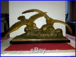 Bronze Sculpture les mouettes sur une vague de L. Sosson année 30 Art déco
