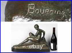 Bronze XIX, Marcel BOURAINE 1886/1948, Nue allongée vers 1920, Art Déco