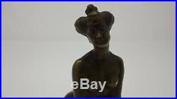 Bronze art nouveau jeune femme nue position grenouile erotique curiosa