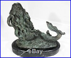 Bronze marble art statue mermaid sculpture marble base mythical statue sirène