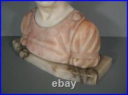 Buste Jeune Fille Au Turban Sculpture Ancienne Art Deco Marbre Style Pugi