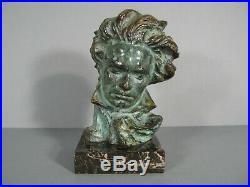 Buste Style Art Déco Bronze Beethoven Pierre Le Faguays Éditeur Max Le Verrier