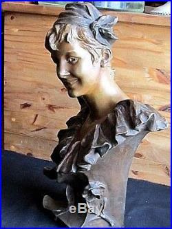 Buste d'actrice en bronze de Georges Van Der Straeten Art-Nouveau Bruxelles