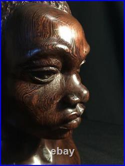 Buste en bois Débène sculpté Femme Africaine Art décoratif