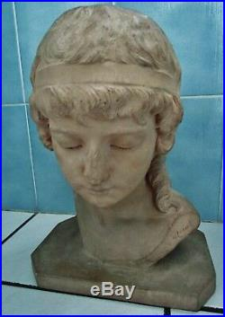 Buste en terre cuite-marguerite monot-jeune fille-art nouveau-terracotta bust