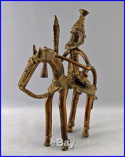 CAVALIER ET SON CHEVAL, bronze, Afrique, arts premiers, 23 cm