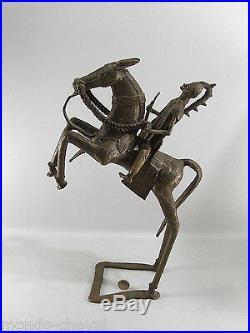 CHEVAL ET CAVALIER EN BRONZE, Ashanti, grande taille, 44 cm, Afrique, art tribal
