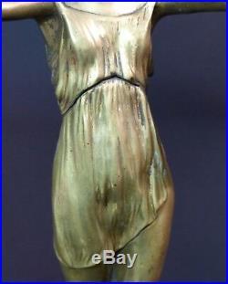 C 1925 P. LAUREL rare statue sculpture art nouveau danseuse bronze 4.3Kg43cm