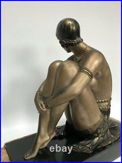 Chiparus Regule Art Deco Danseuse Assise Base Marbre Signe R Lullier Z368