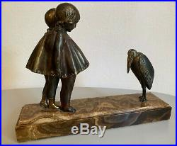 Chiparus sculpture statue Art Deco en régule fillettes et marabout signée