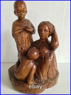 Curieuse Statue Sculpture Bois Art Populaire Haute Epoque