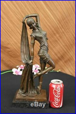 D H Chiparus Bronze Statue Énorme Long Gypsy Belly Dancer Fonte Sculpture Art